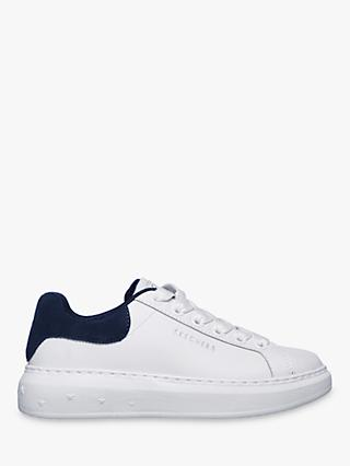 Skechers High Street Lace Up Trainers, White/Navy Leather