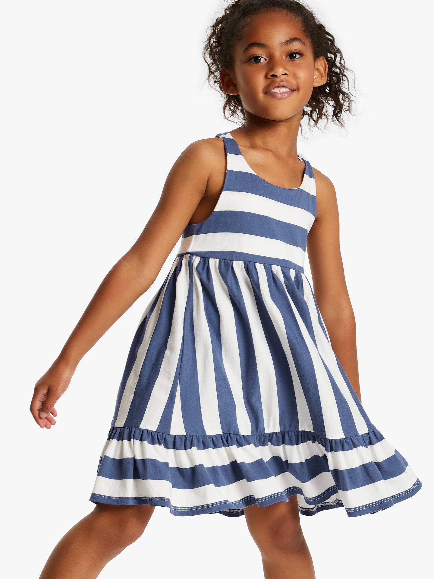 da9de889af44 Buy Little Joules Girls' Juno Peplum Midi Dress, White/Blue, 4 years ...