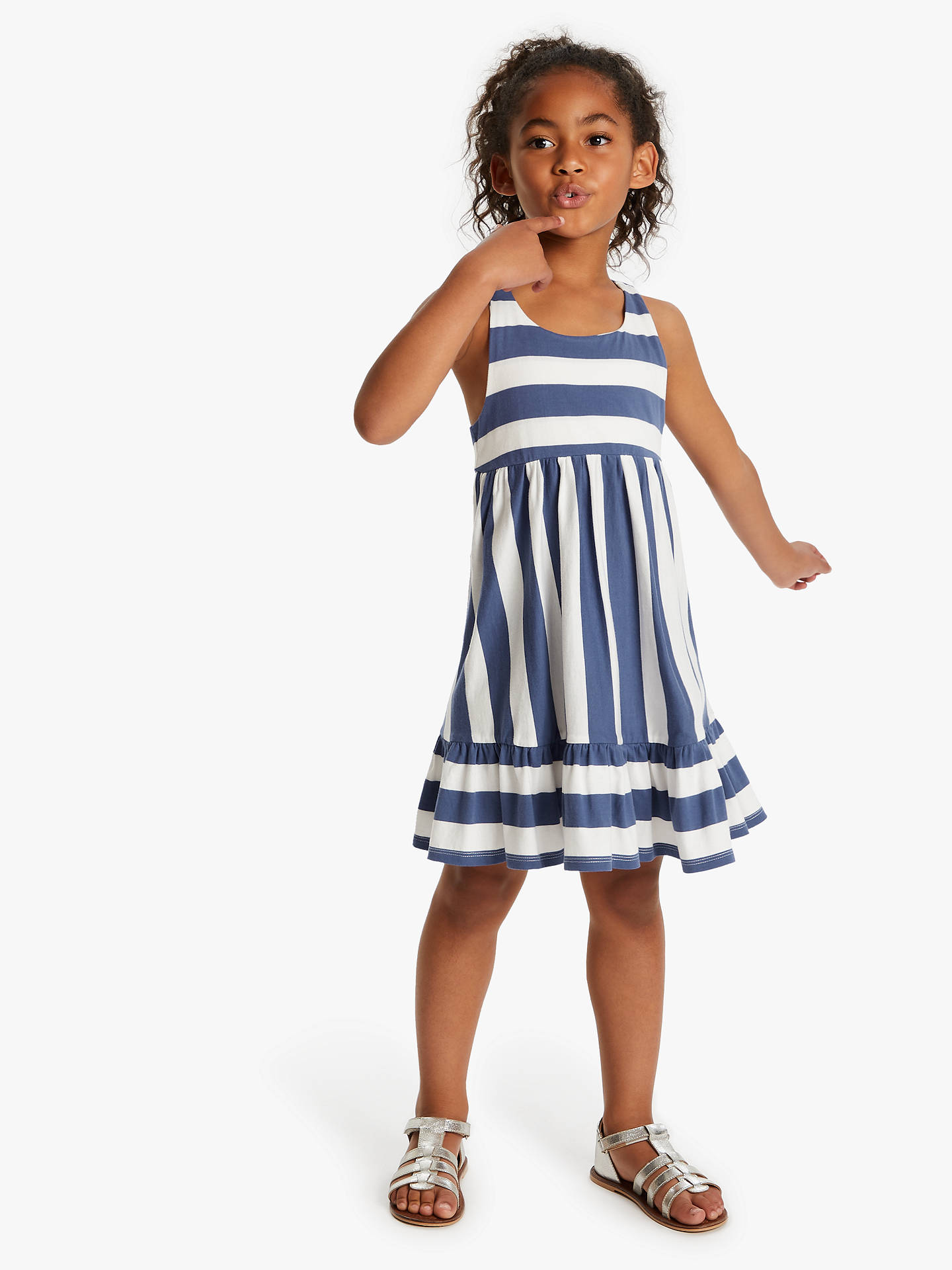 ac4210d2fc90 ... Buy Little Joules Girls' Juno Peplum Midi Dress, White/Blue, 4 years ...
