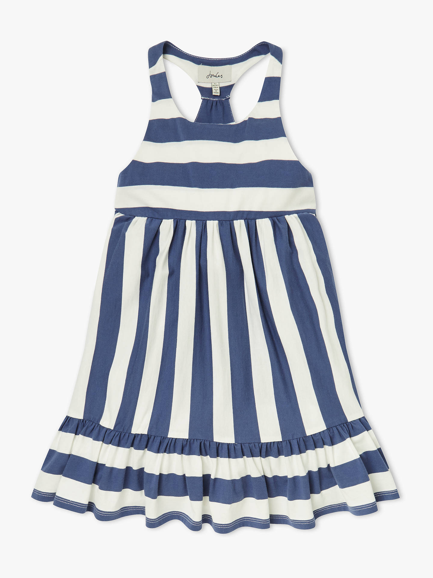 5b1061f2643d ... Buy Little Joules Girls' Juno Peplum Midi Dress, White/Blue, 4 years