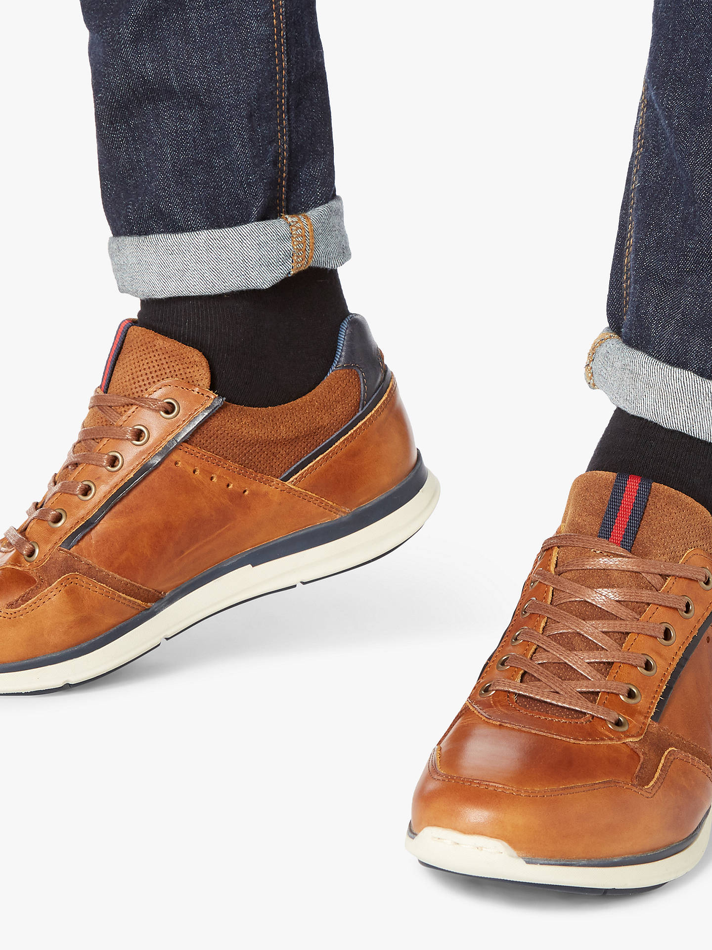 Buy Dune Tynecastle Stripe Tab Leather Trainers, Tan, 6 Online at johnlewis.com