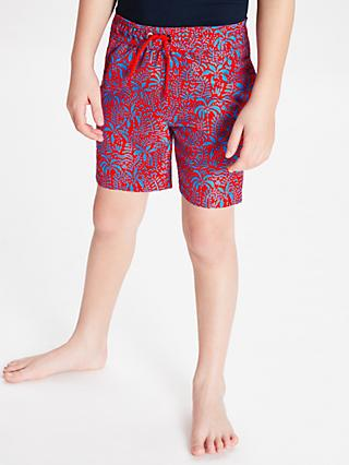 John Lewis & Partners Boys' Palm Print Board Shorts, Red