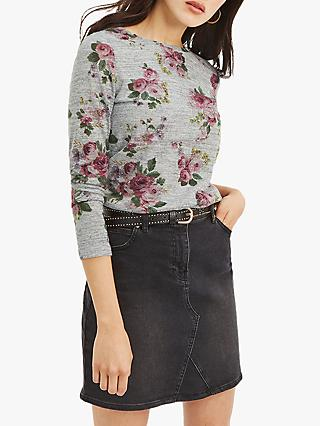 Oasis Rose Print Jumper, Grey/Multi