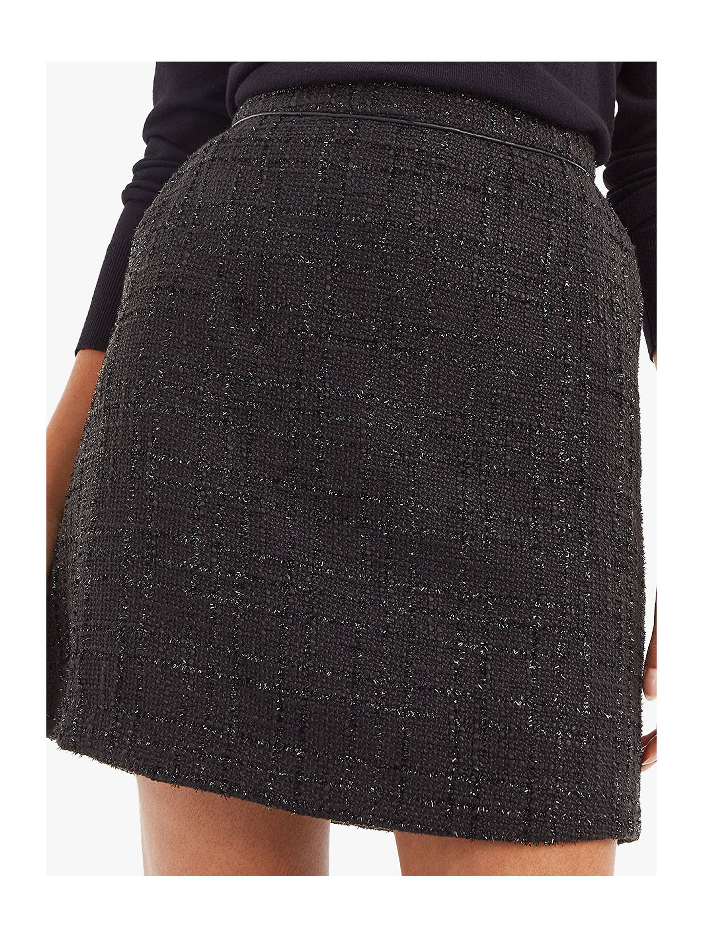 32236daf0fcb0e Buy Oasis Sparkle Tweed Skirt, Black, 10 Online at johnlewis.com ...