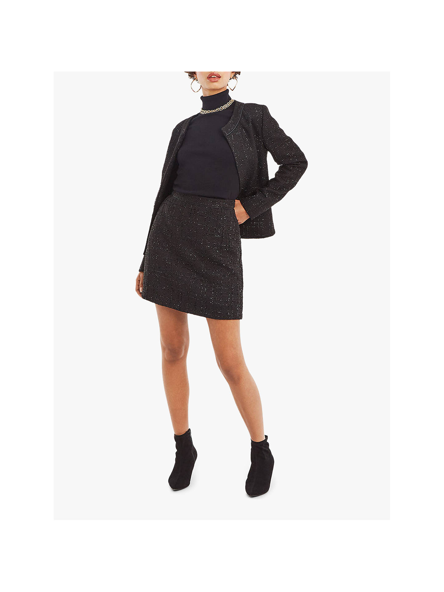 31e46ca655a22e ... Buy Oasis Sparkle Tweed Skirt, Black, 10 Online at johnlewis.com ...