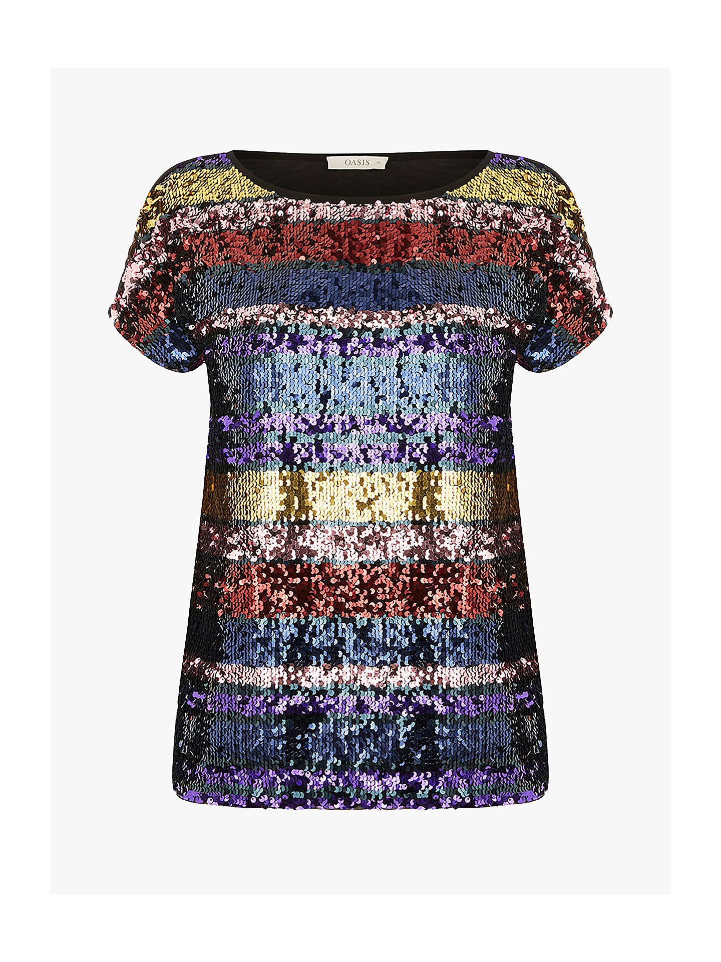 1afc56953200 ... Buy Oasis Rainbow Sequin T-Shirt, Multi, S Online at johnlewis.com ...