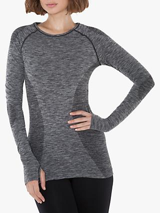 M Life Seamless Long Sleeve Top, Black Marl