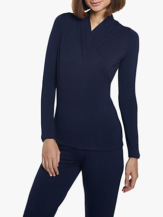 M Life Awakening Long Sleeve Crossover Yoga Top, Navy