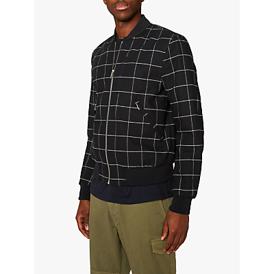 PS Paul Smith Windowpane Check Bomber Jacket, Black