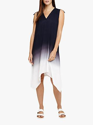 Phase Eight Oska Ombre Dress, Navy/White