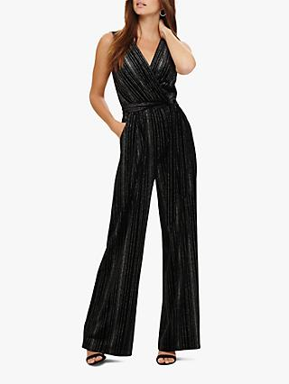 Phase Eight Lacy Velvet Jumpsuit, Black/Silver