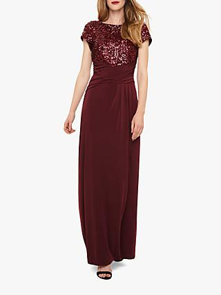 Phase Eight Sinitta Sequin Maxi Dress, Burgundy