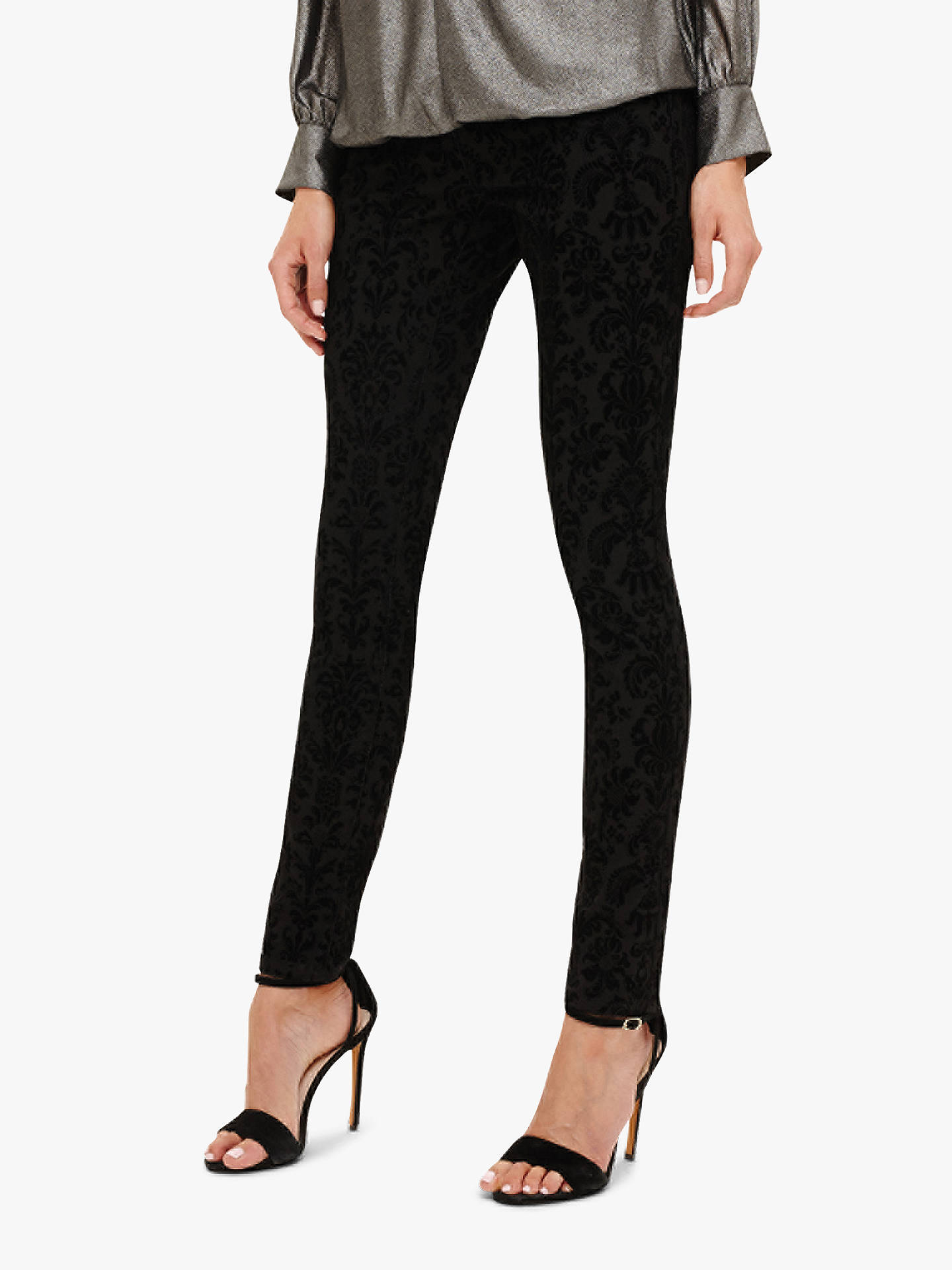 cbb425499e Buy Phase Eight Flocked Floral Skinny Jeans, Black, 12 Online at  johnlewis.com ...