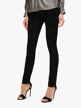Phase Eight Flocked Floral Skinny Jeans, Black