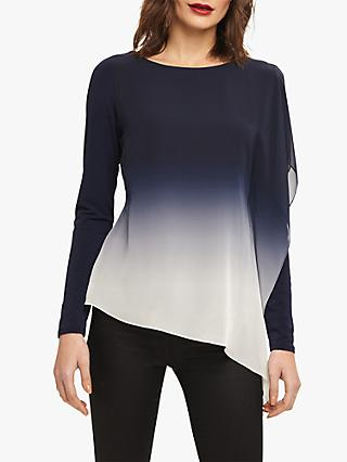 Phase Eight Camille Ombre Chiffon Top, Navy/White