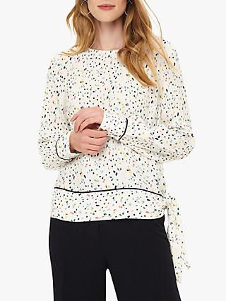 Phase Eight Sherald Confetti Print Blouse, Ivory/Multi