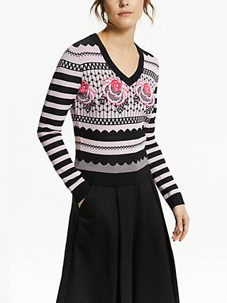 Somerset by Alice Temperley Floral Jacquard Jumper, Black/Pink