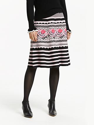 Somerset by Alice Temperley Floral Jacquard Knit Skirt, Black/Pink