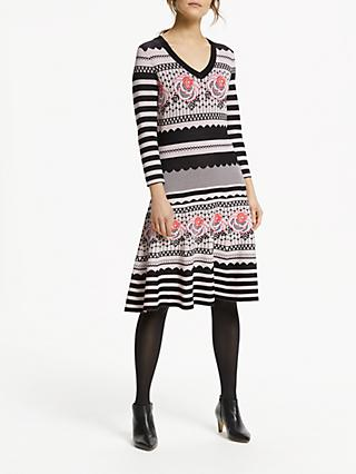 Somerset by Alice Temperley Floral Knit Dress, Black/Pink