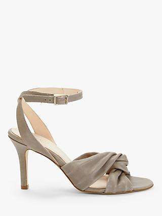 Modern Rarity Mari Knotted Heeled Sandals, Grey Leather