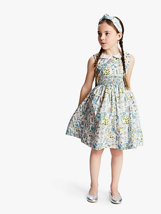 John Lewis & Partners Heirloom Collection Girls' Floral Smocked Dress, Neutral/Multi