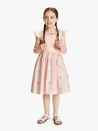 John Lewis & Partners Heirloom Collection Girls' Pleated Floral Dress, Pink