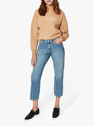 Selected Femme Jane Straight Leg Jeans, Minimal Blue