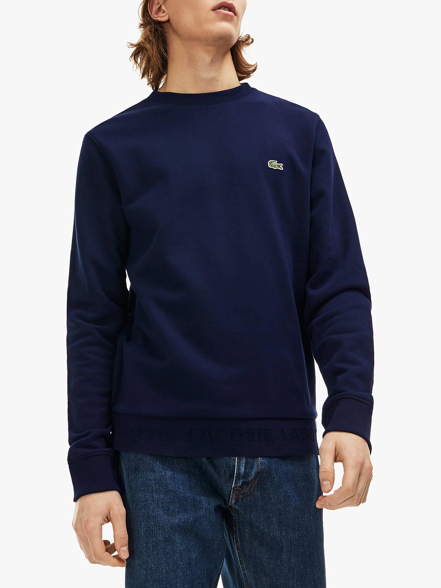 568a99a4 Lacoste Crew Neck Sweatshirt, Navy at John Lewis & Partners