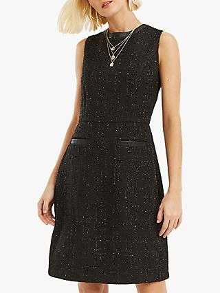 Oasis Sparkle Tweed Long Shift Dress, Black