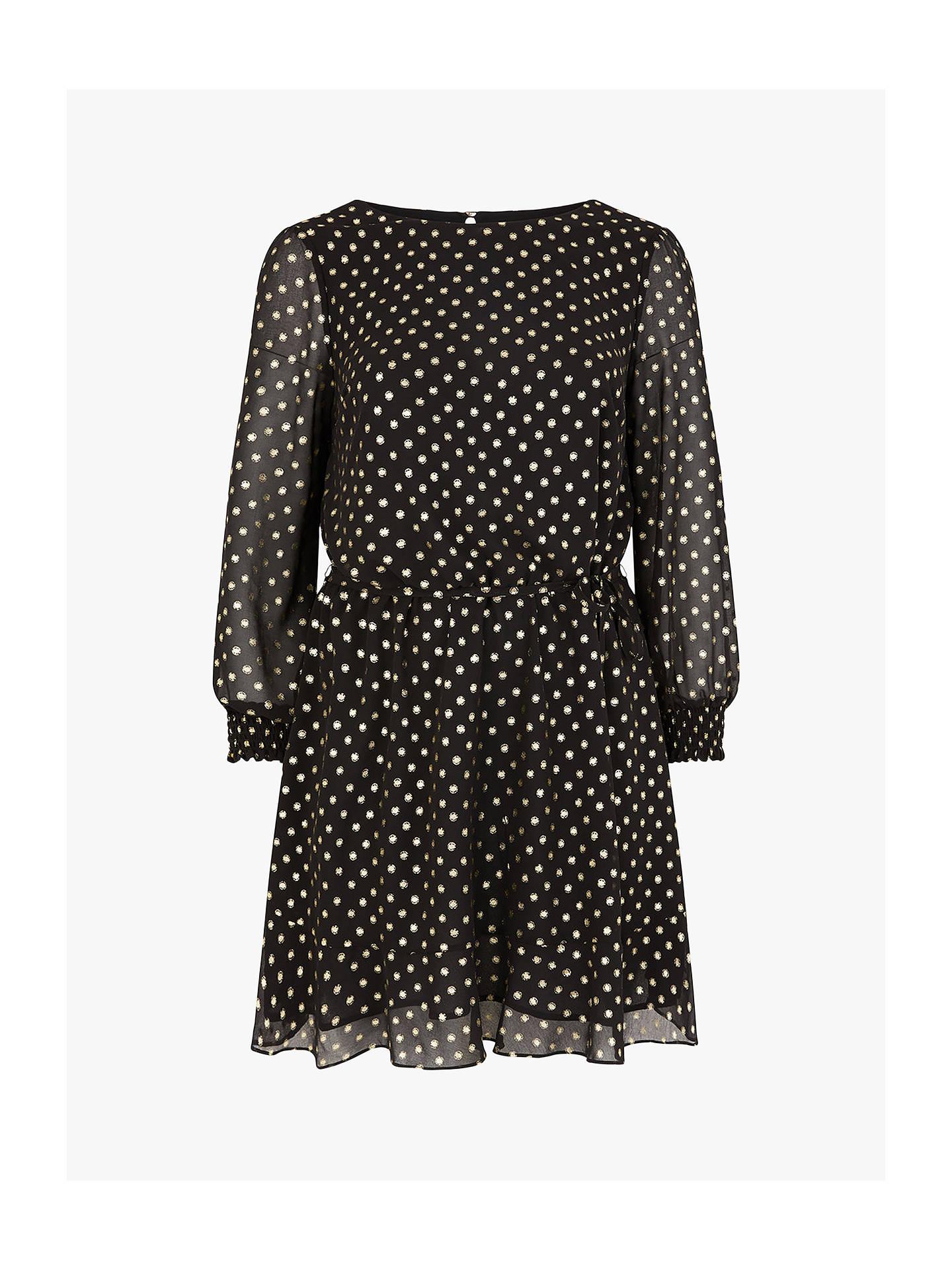 oasis curve chiffon spot dress, black at john lewis & partners