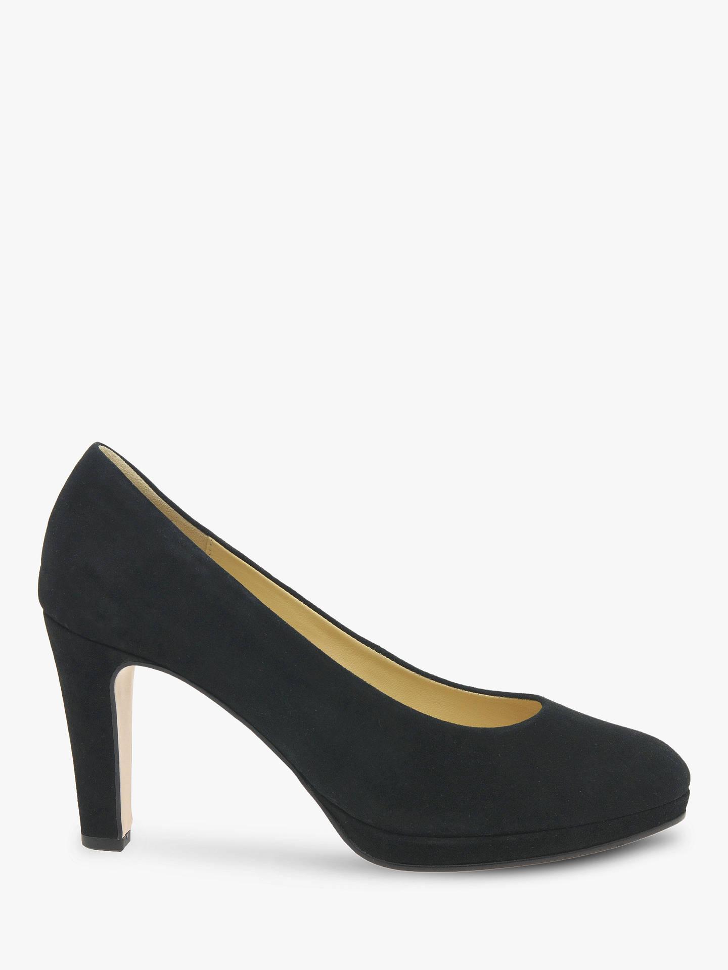 Gabor Splendid Block Heeled Court Shoes, Black | Block heel