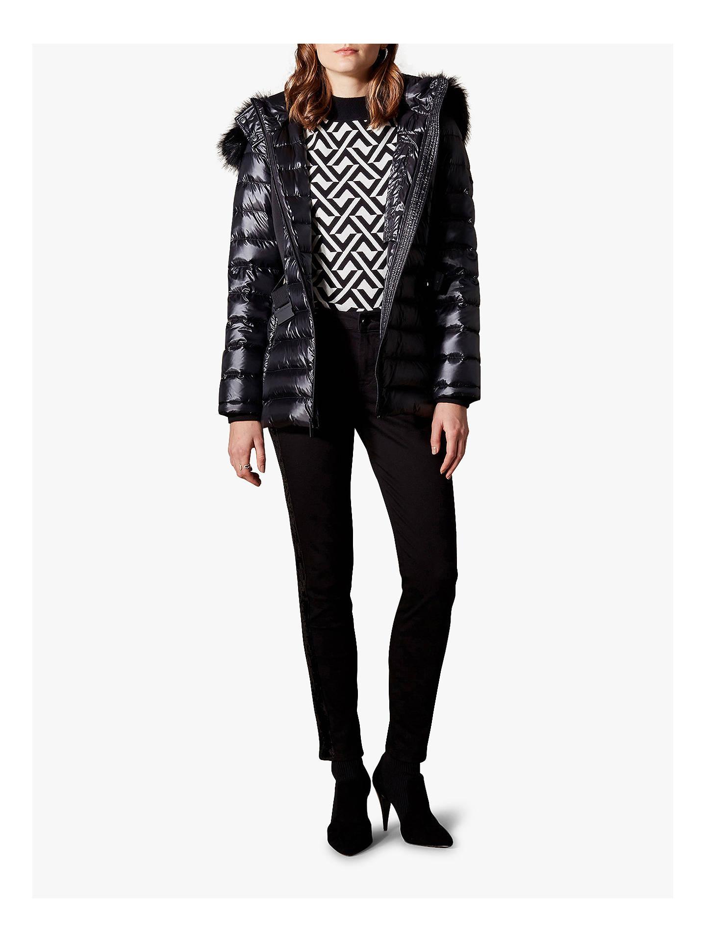 3d38994e10a ... Buy Karen Millen Belted Puffer Jacket, Black, 6 Online at johnlewis.com  ...