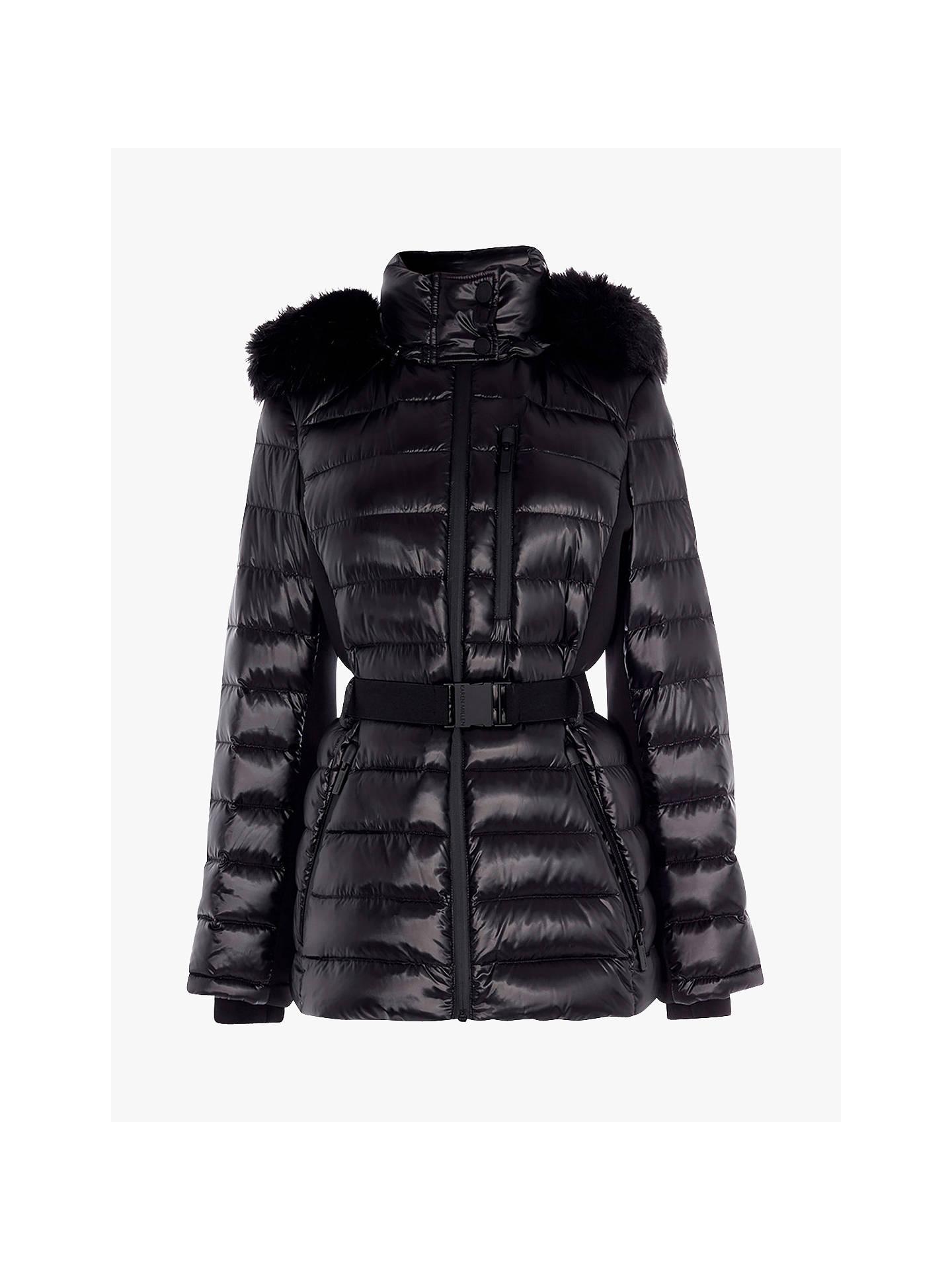 2ba864a45 Karen Millen Belted Puffer Jacket, Black at John Lewis & Partners