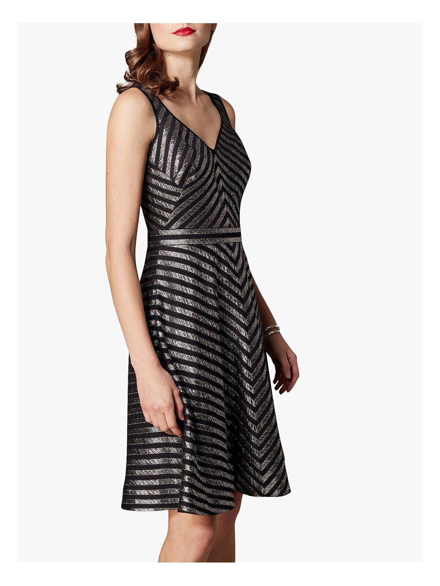 BuyKaren Millen Metallic Stripe Skater Dress b41660662
