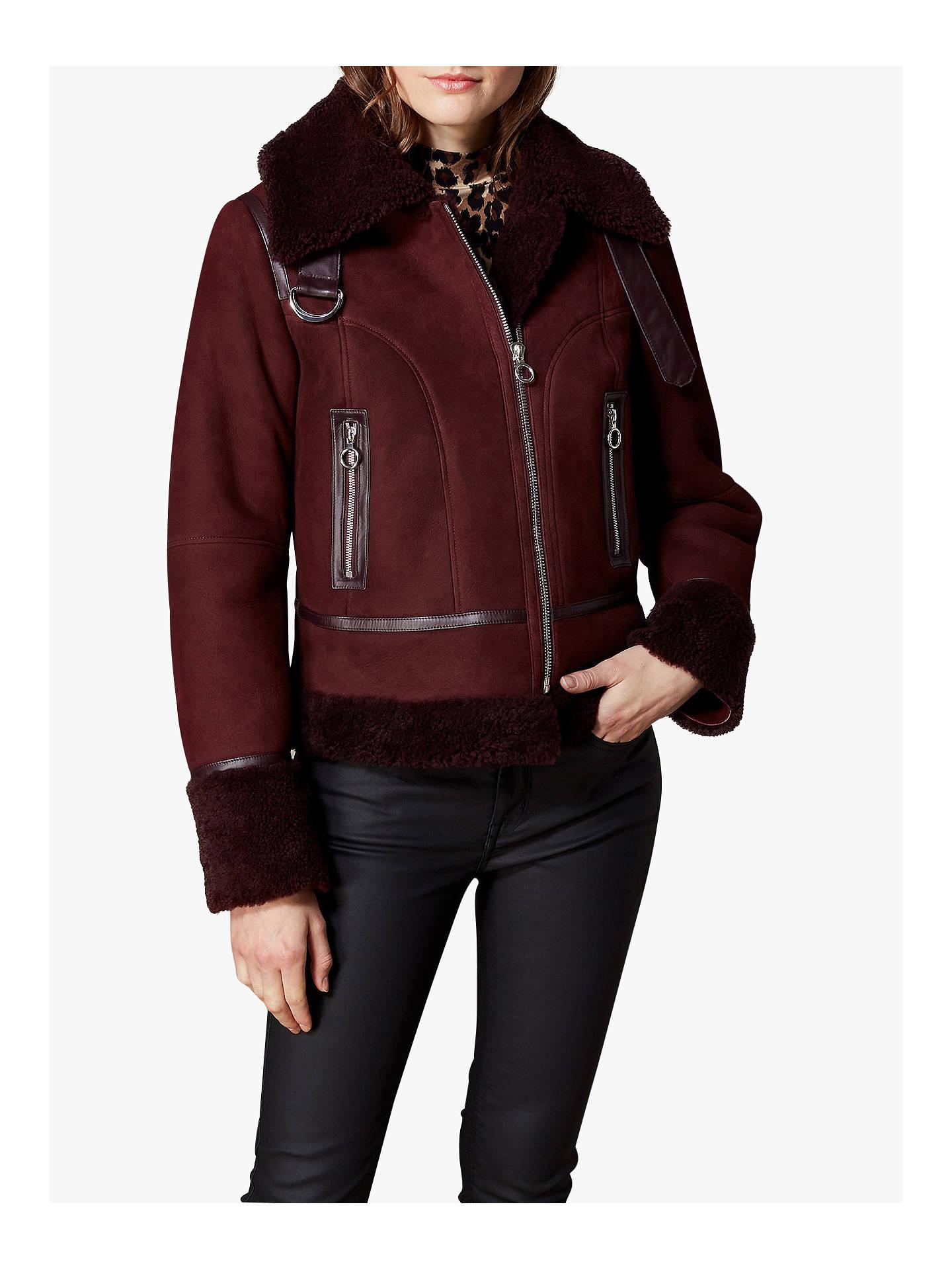 d23d203329 Buy Karen Millen Sheepskin Aviator Coat, Burgundy, 6 Online at  johnlewis.com ...