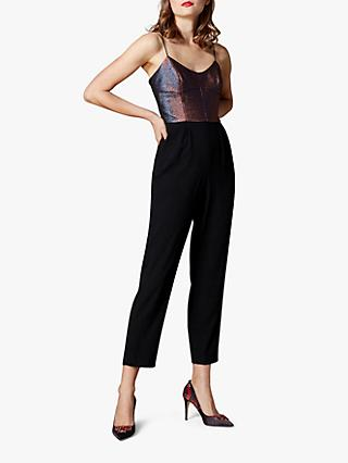 Karen Millen Metallic Top Jumpsuit, Black/Multi