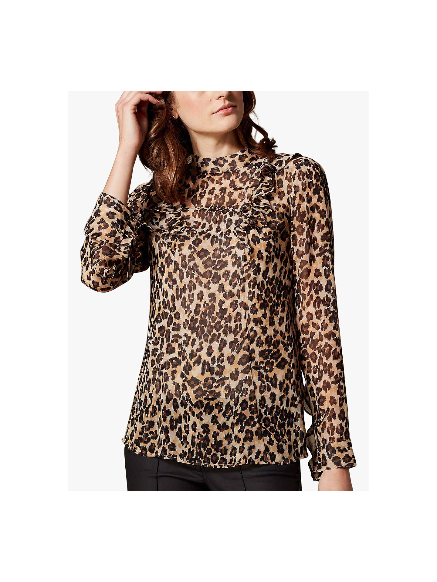 e97366c7859 Buy Karen Millen Leopard Print Blouse, Multi, 6 Online at johnlewis.com ...