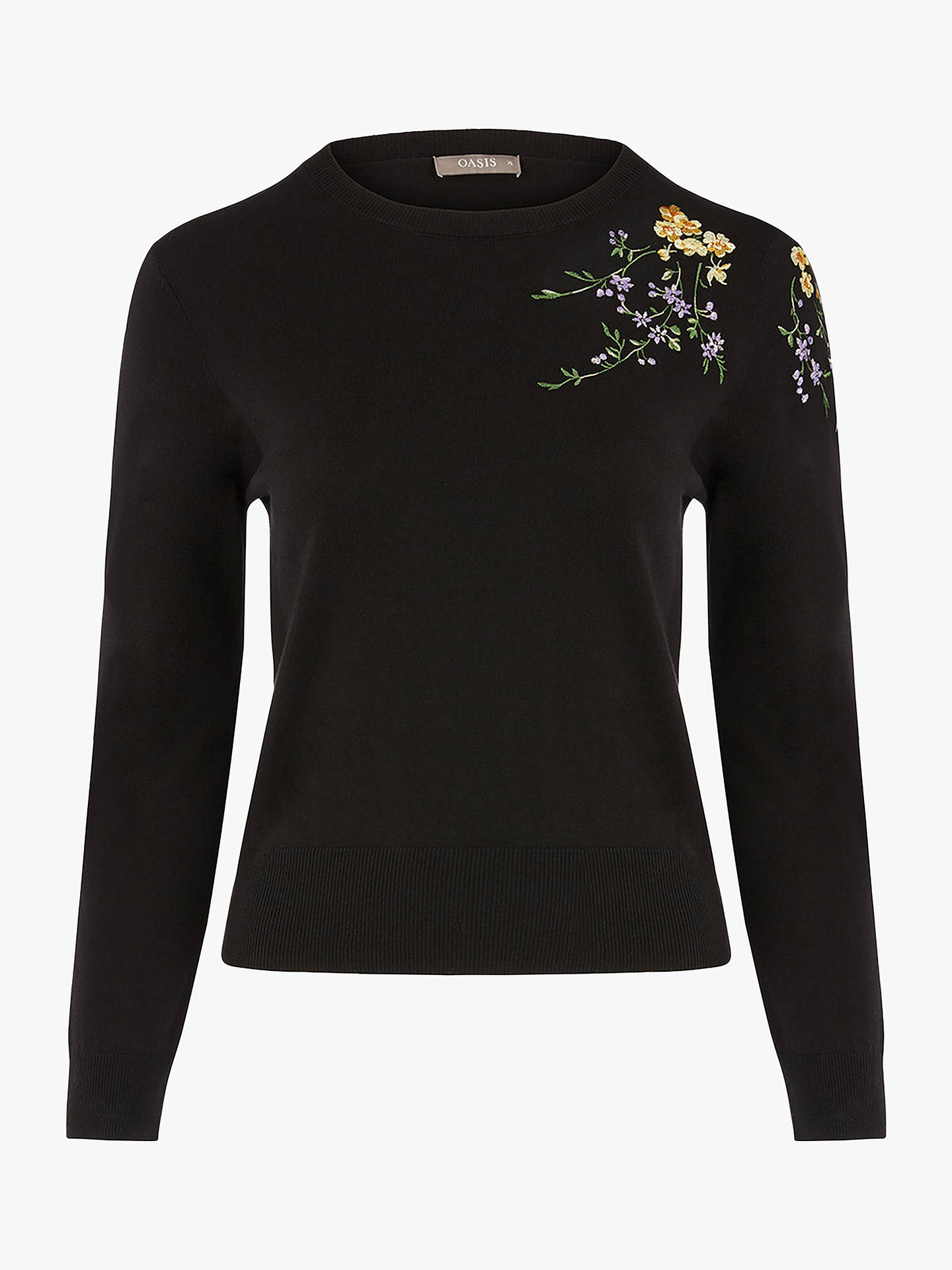 BuyOasis Curve Isla Jumper, Black/Multi, XL Online at johnlewis.com