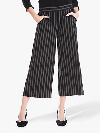 Max Studio Wide Leg Pinstripe Trousers, Black/White