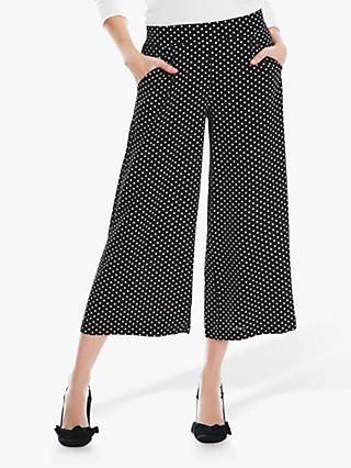 Max Studio Wide Leg Spot Trousers, Black/White