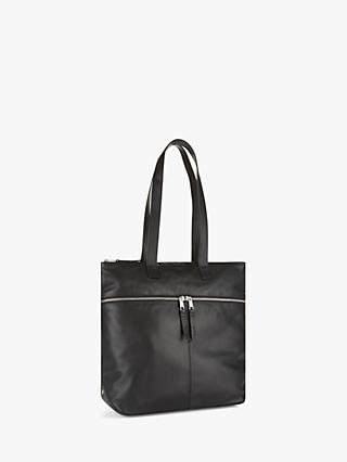 Jaeger Zoe Leather Double Zip Tote Bag, Black