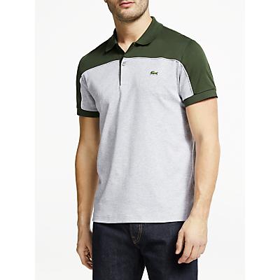 Lacoste Regular Fit Piped Colour Block Cotton Polo Shirt, Khaki/Grey