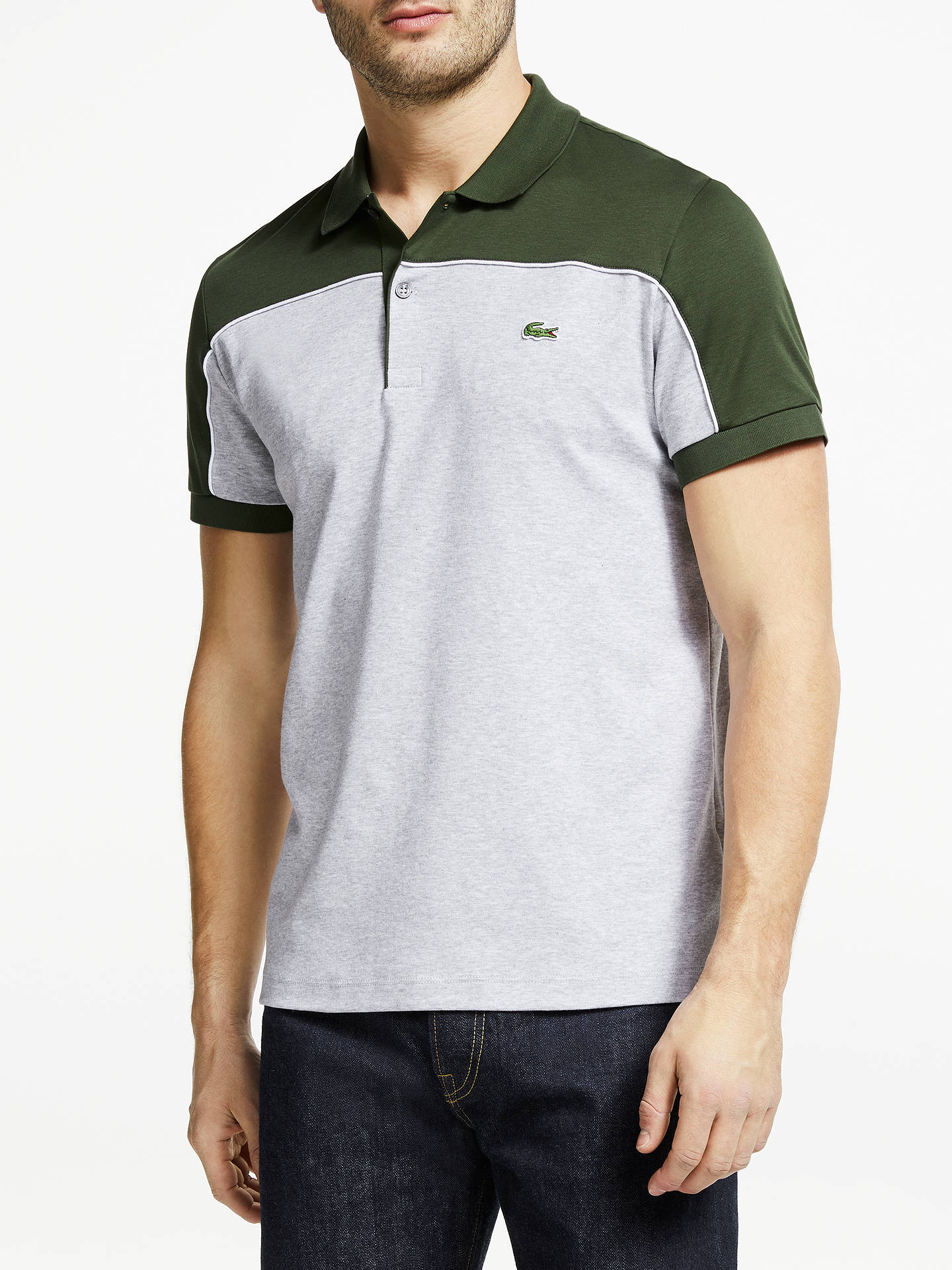 ce56d6b9 Lacoste Regular Fit Piped Colour Block Cotton Polo Shirt, Khaki/Grey ...