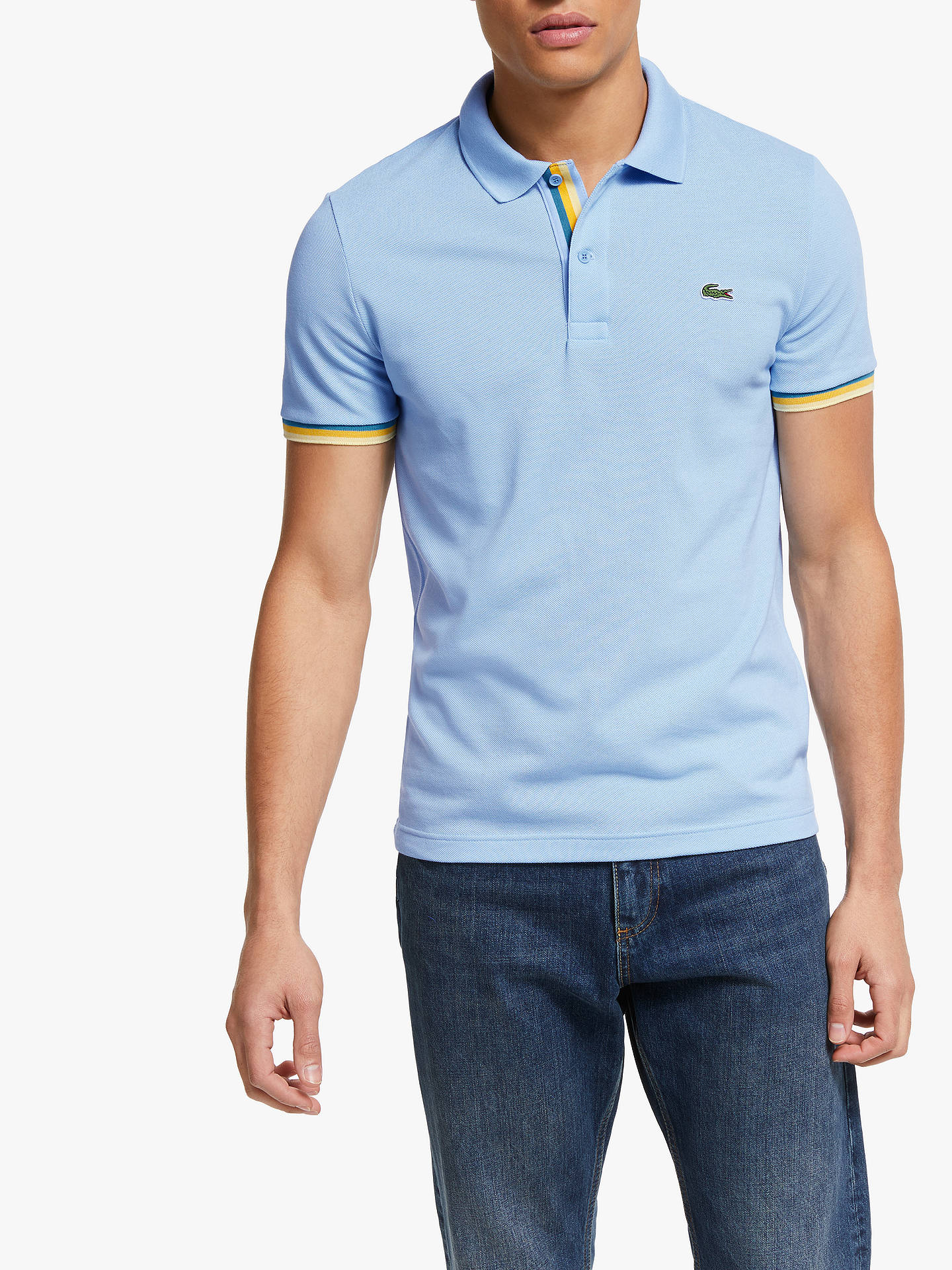 0d82a51ff5 Buy Lacoste Tipped Short Sleeve Polo Shirt, Blue, XL Online at  johnlewis.com ...