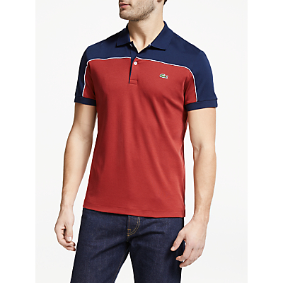 Lacoste Colour Block Short Sleeve T-Shirt, Pinot/Navy