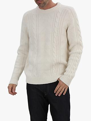 Jaeger Cable Knit Merino Wool Jumper