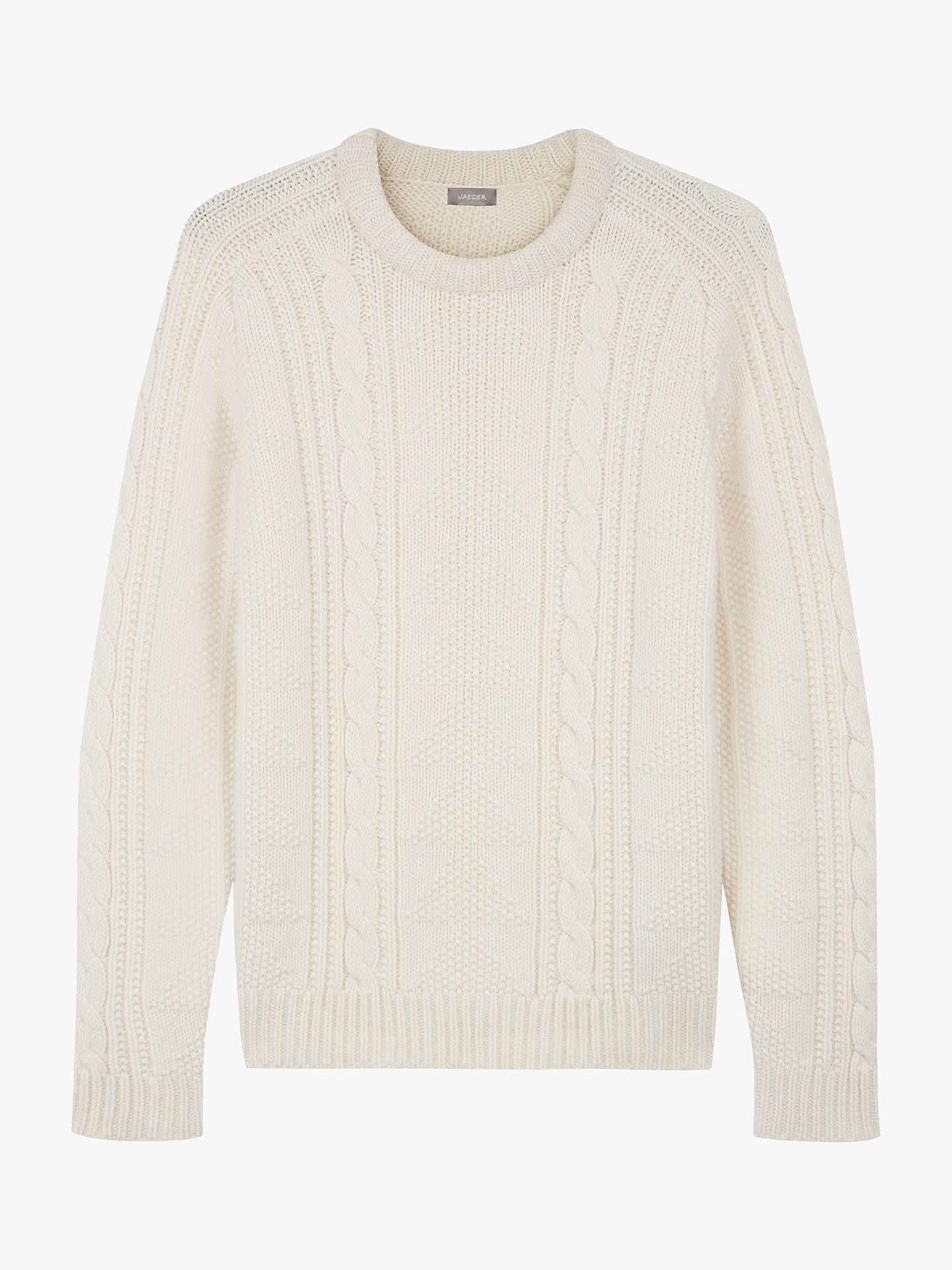 BuyJaeger Cable Knit Merino Wool Jumper, Ivory, S Online at johnlewis.com