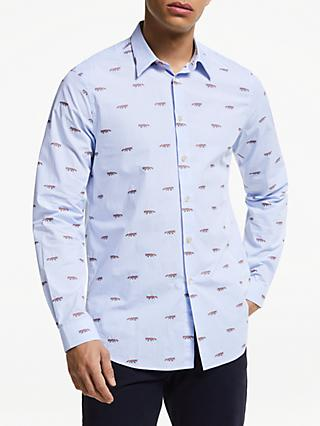 PS Paul Smith Fox Embroidery Shirt, Blue
