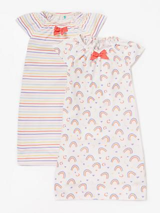 John Lewis & Partners Girls' Rainbow Print Night Dress, Pack of 2, Pink/Multi