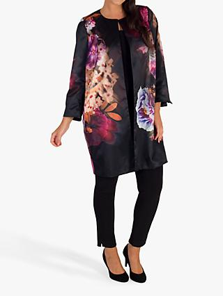 Chesca Floral Print Satin Evening Jacket, Black/Pink